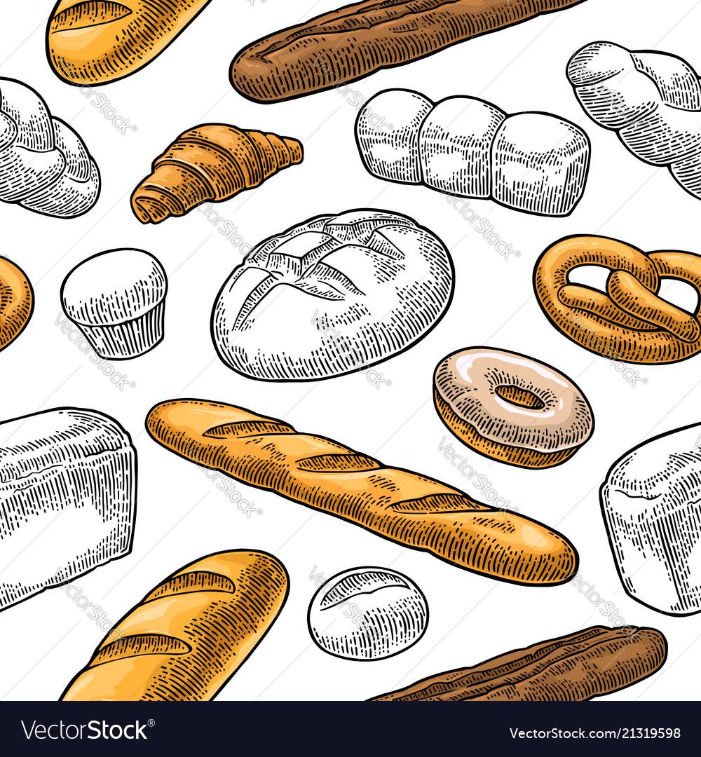 Seamless pattern for bakery black hand