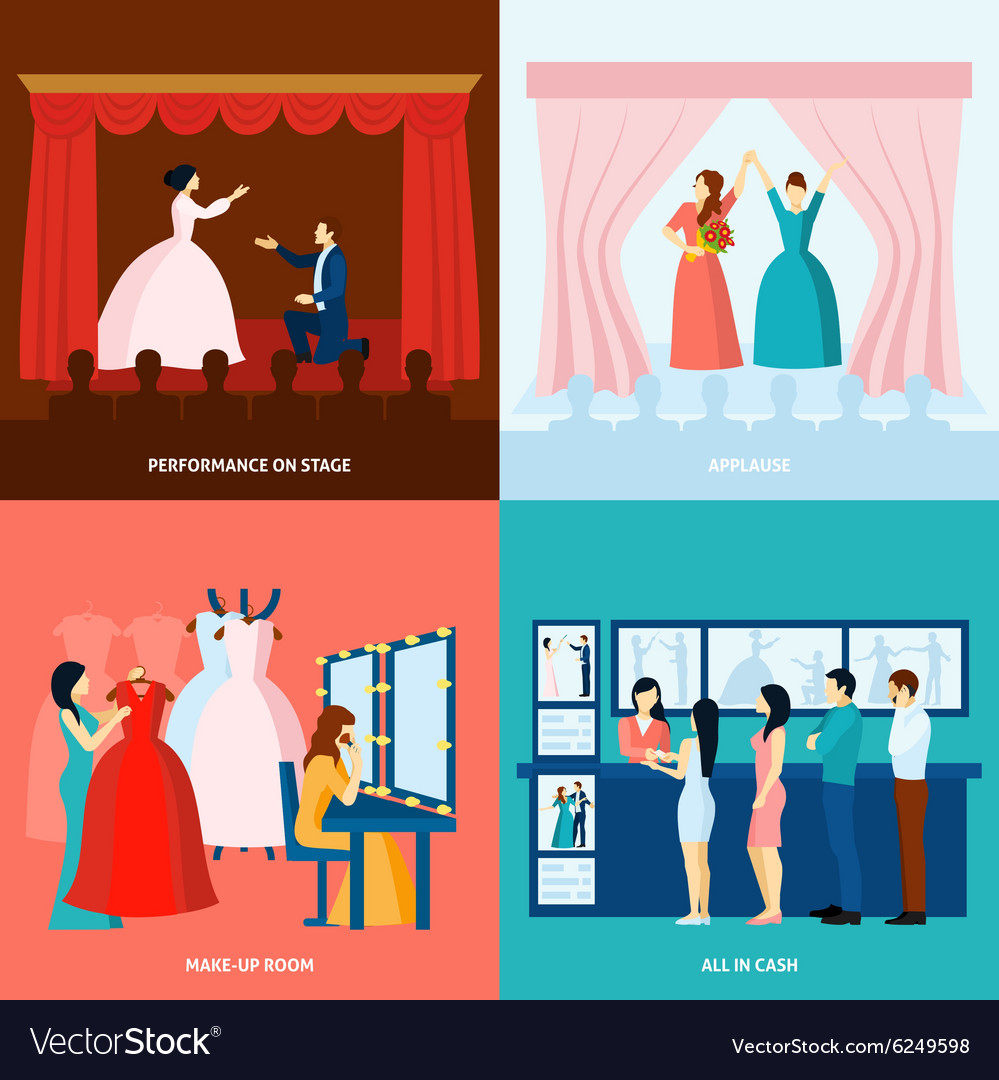 Theater 4 flat icons square banner
