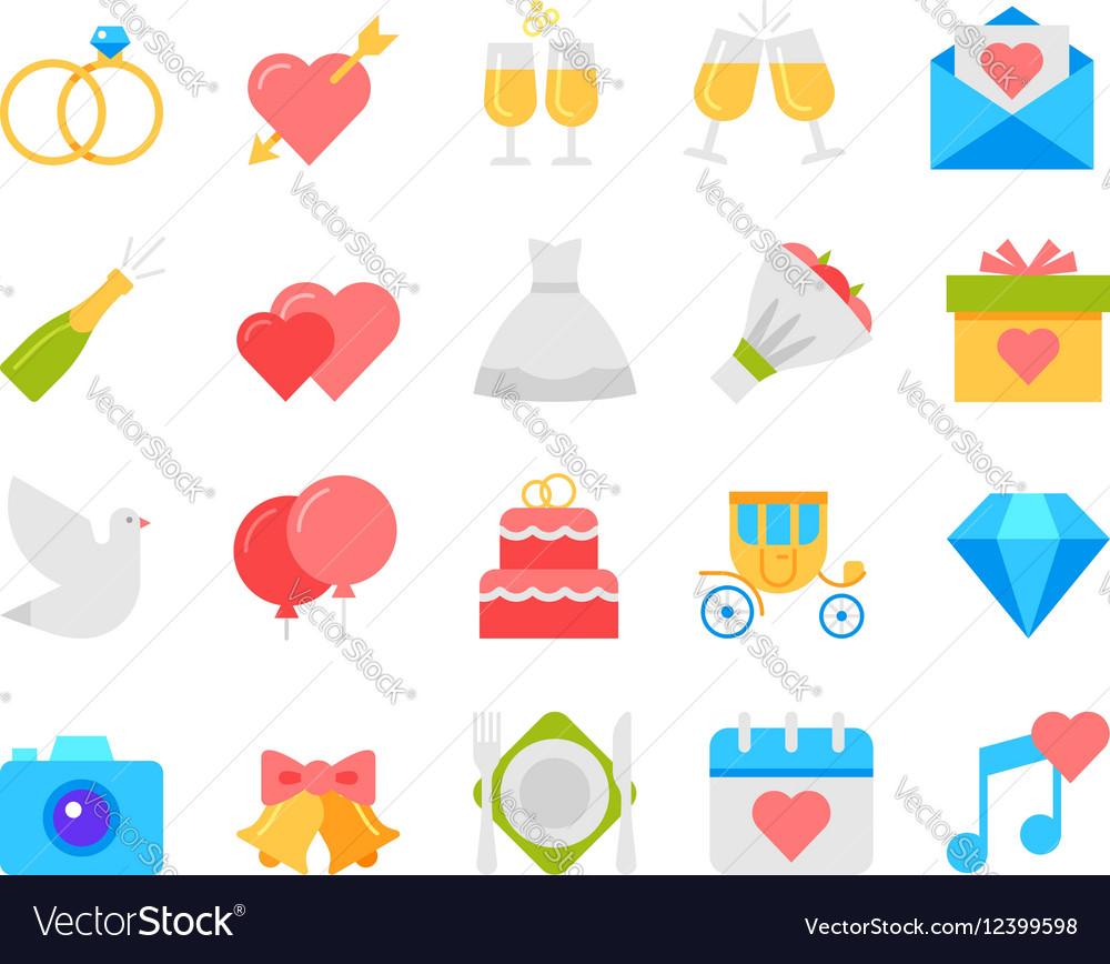 Wedding icons set flat design