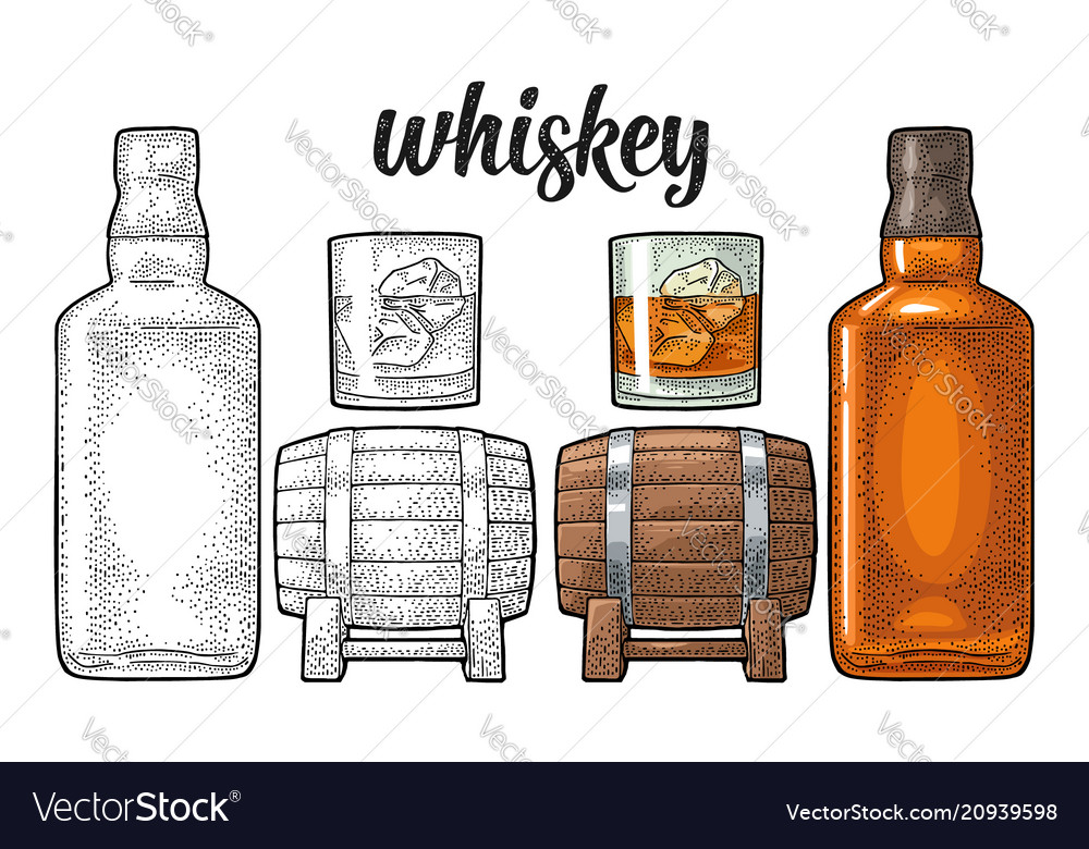 Whiskey glass with ice cubes barrel bottle