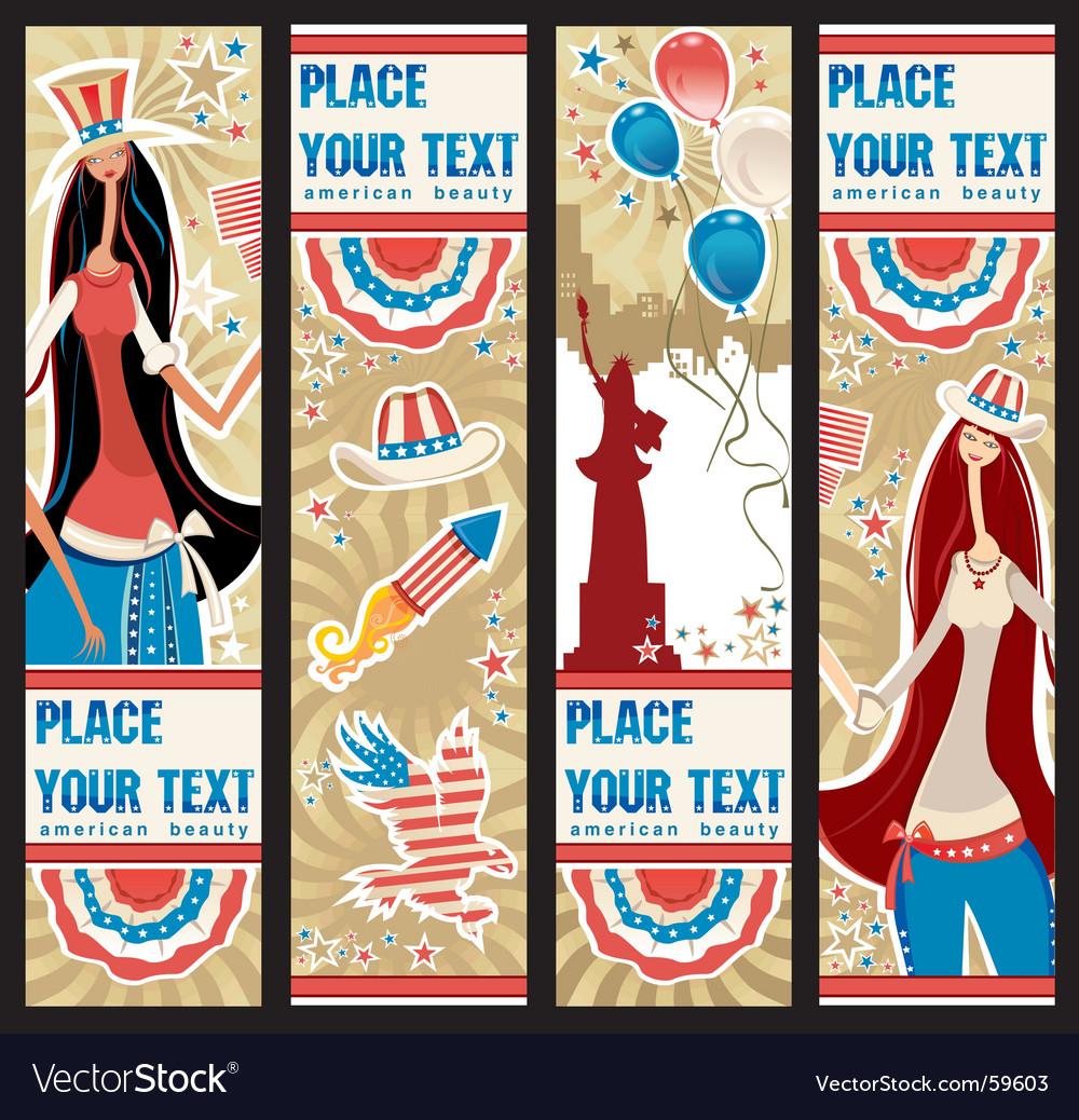 American patriotic vertical banners vector image