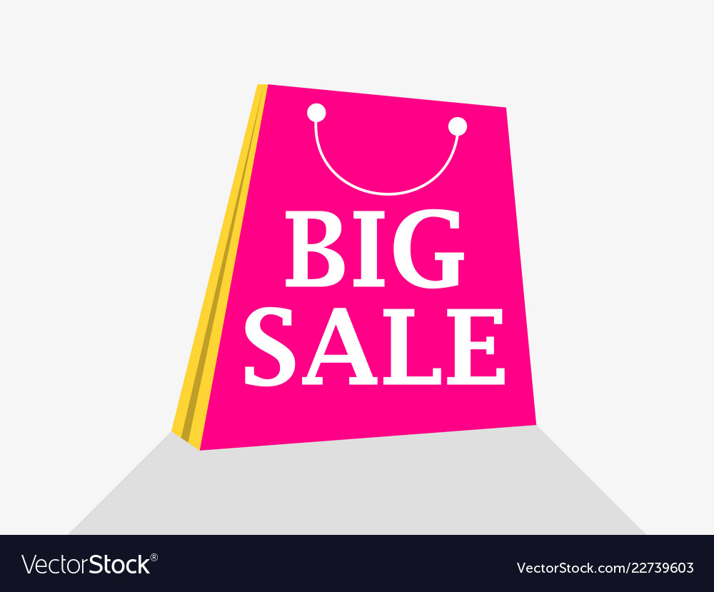 Big sale shopping packet flat style with shadow