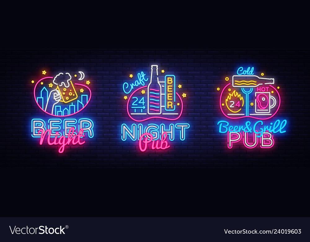 Big set neon signboard theme beer beer pub neon