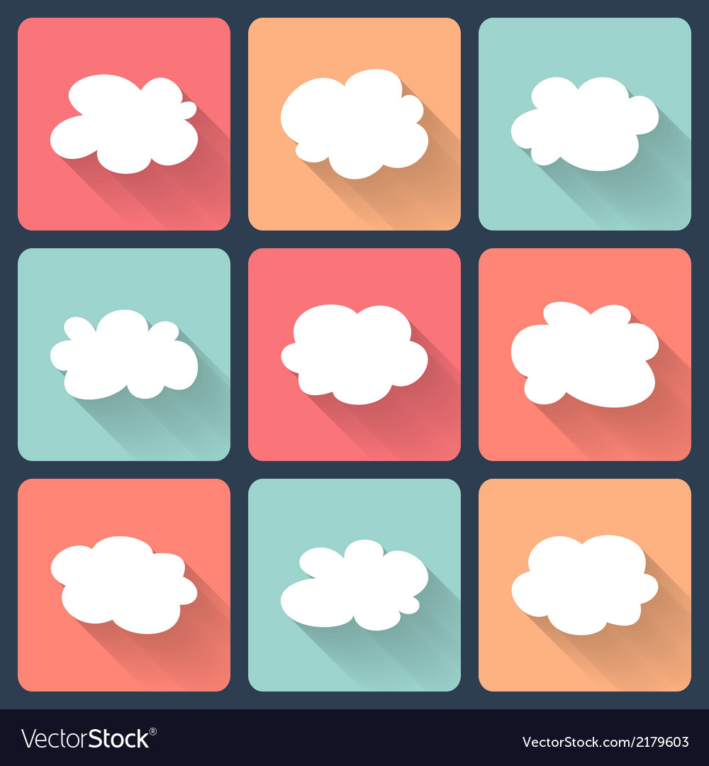 Cloud flat icon set vector image