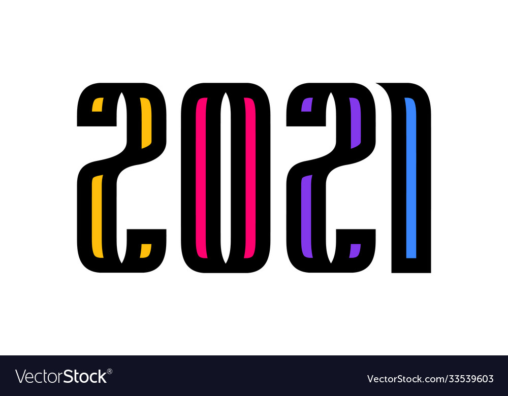 Colorful happy new year 2021 celebration greeting