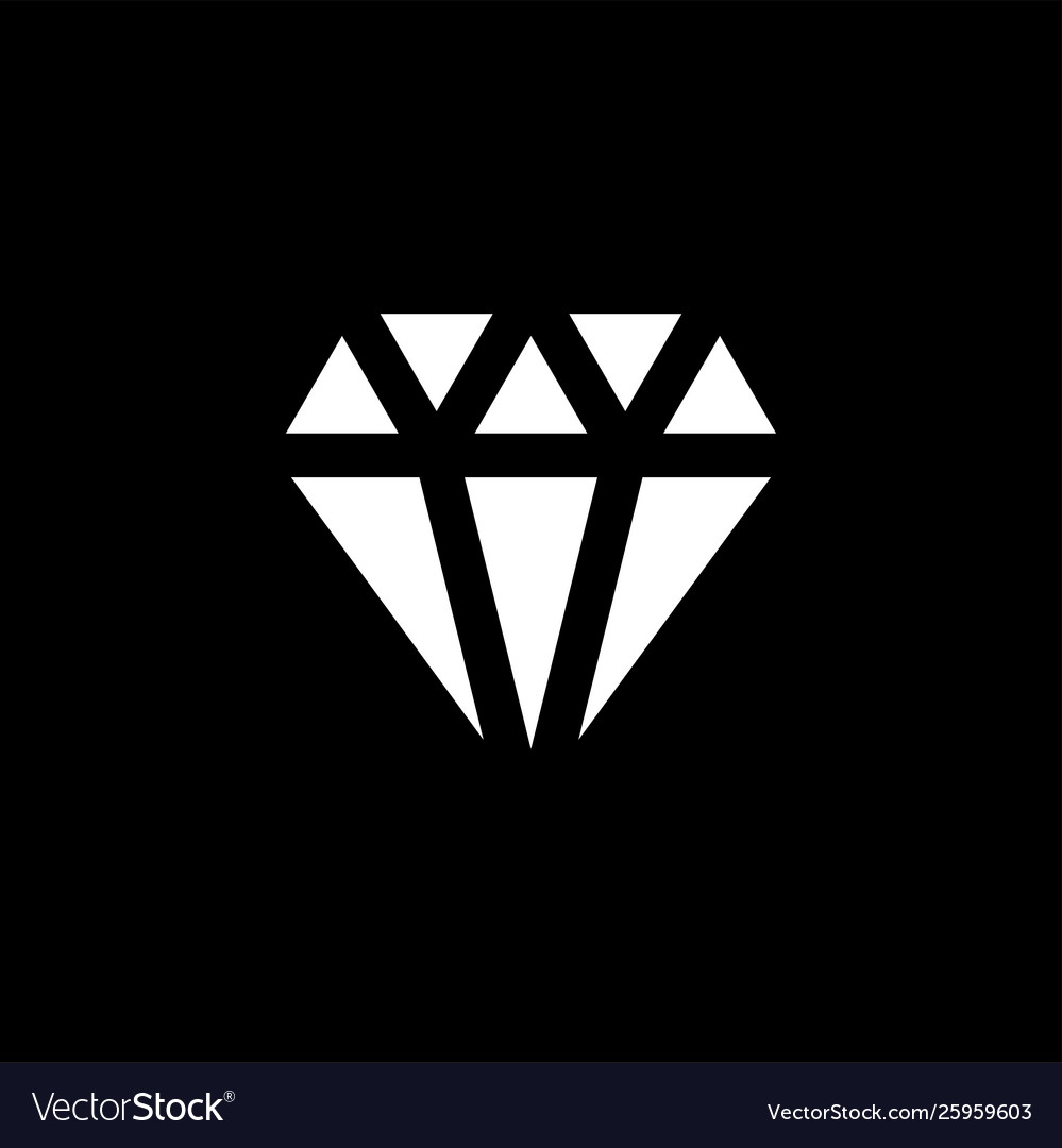 Diamond icon on black background black flat style