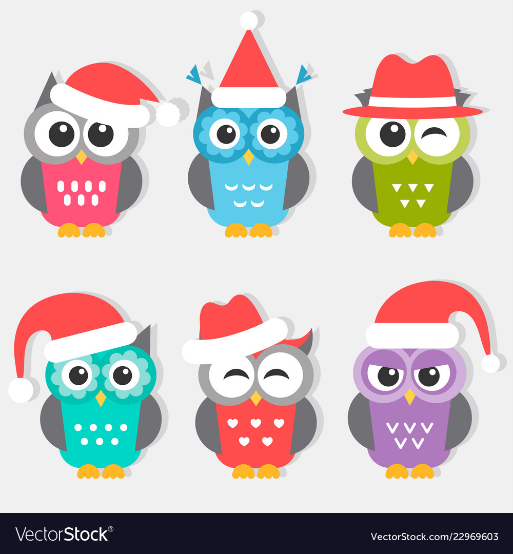 Icons of cute owls with christmas hats