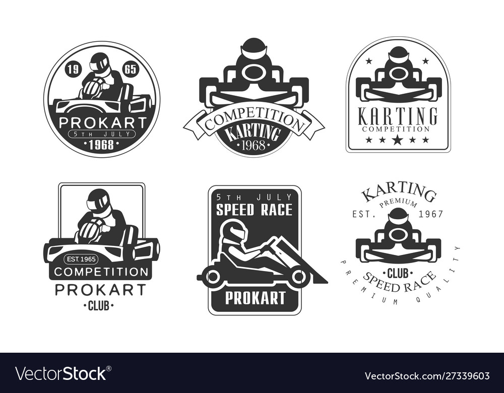 Karting competition retro labels set mechanic