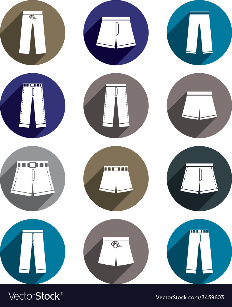 Man jeans and shorts icon set