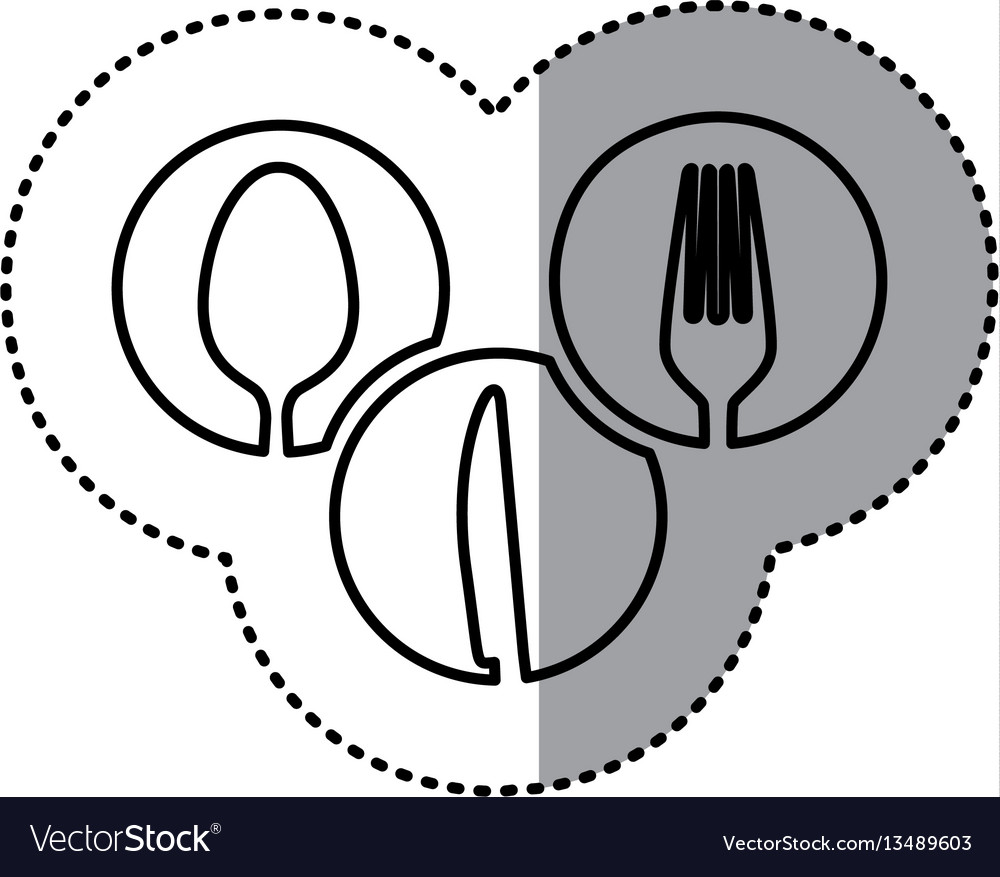 Monochrome contour sticker of circular frames with