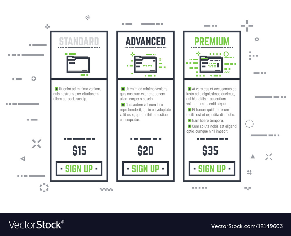 Pricing plan line pixel table vector image