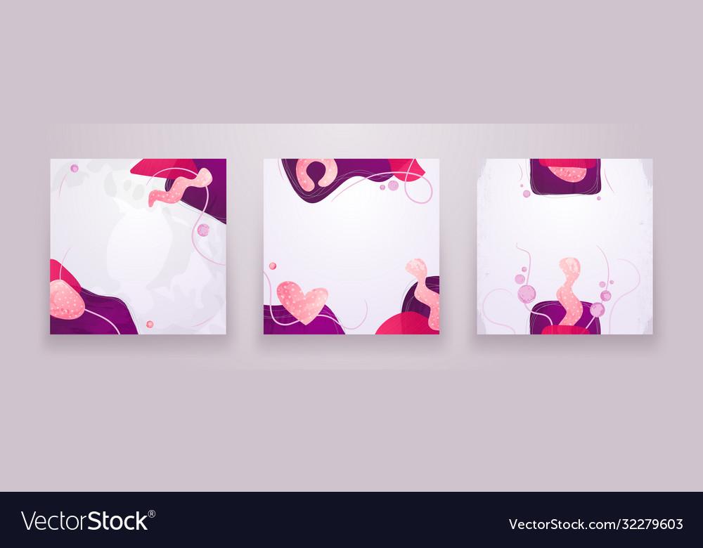 Set creative minimalist hand drawn abstract
