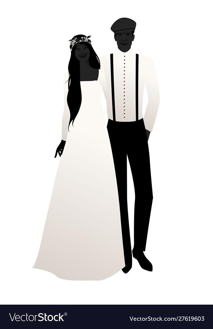 Silhouettes wedding couple wearing bohemian or