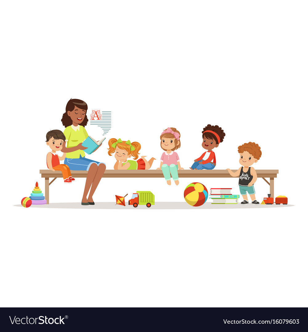 Teacher reading a book to kids while sitting on a