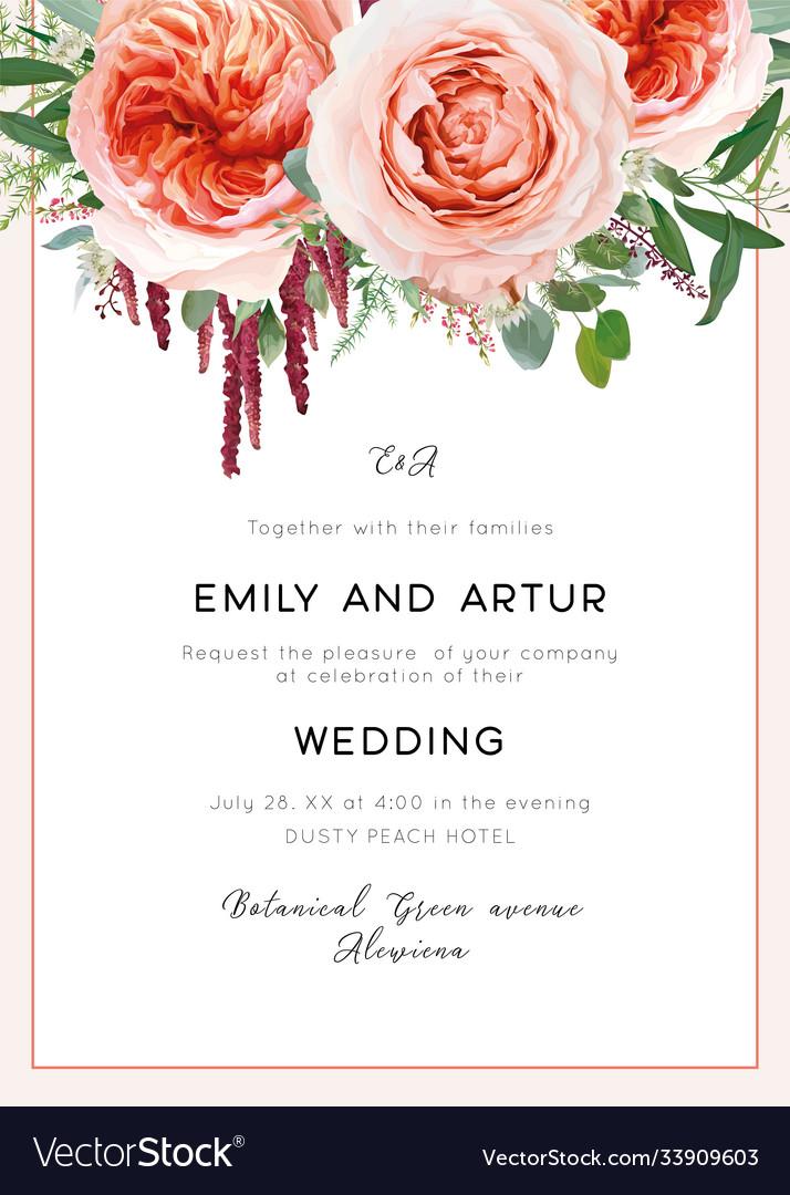 Wedding invite card invitation coral blush peach