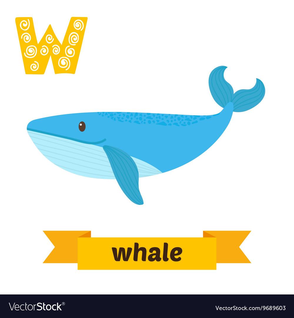 Whale W letter Cute children animal alphabet in