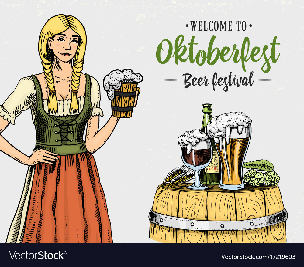 Woman in traditional belgian or bavarian clothes vector image