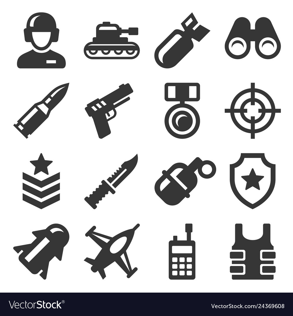 Army military and war icons set