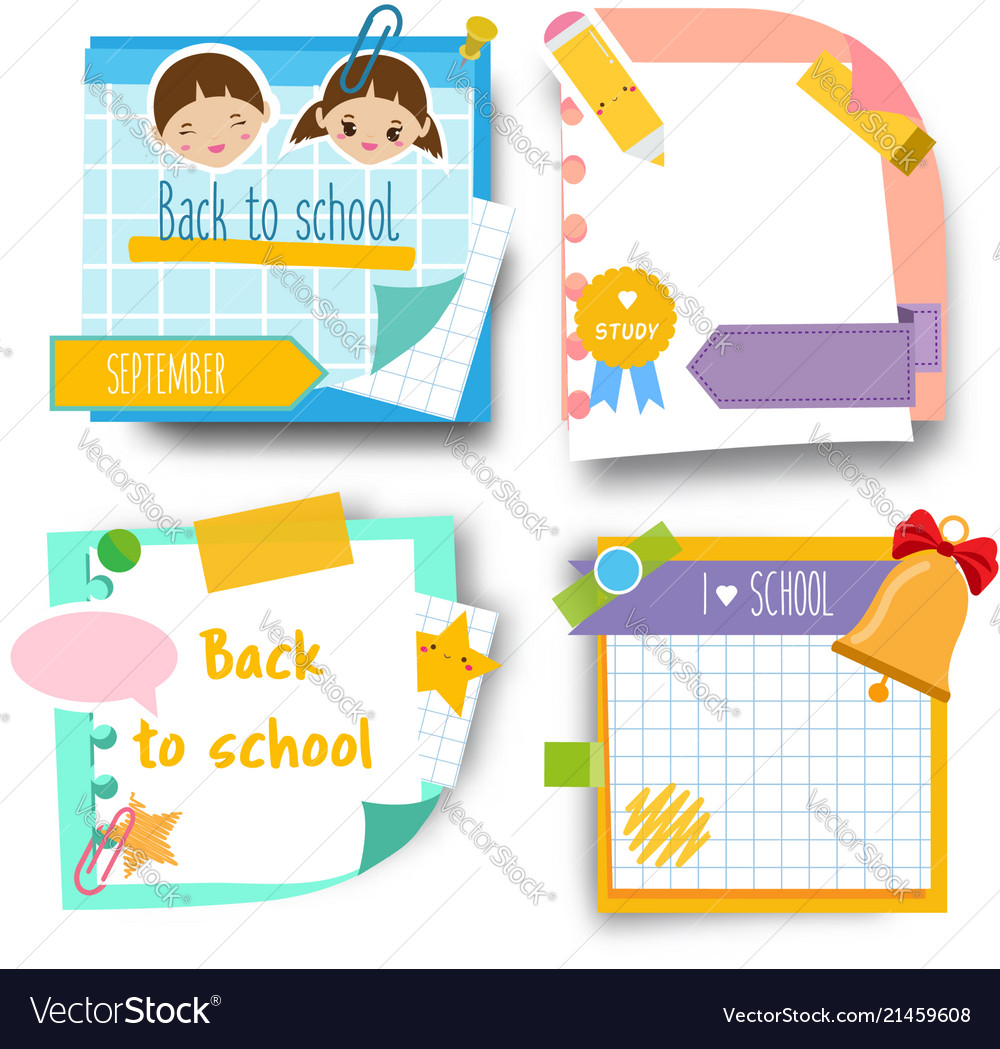 Back to school stickers design template of memory