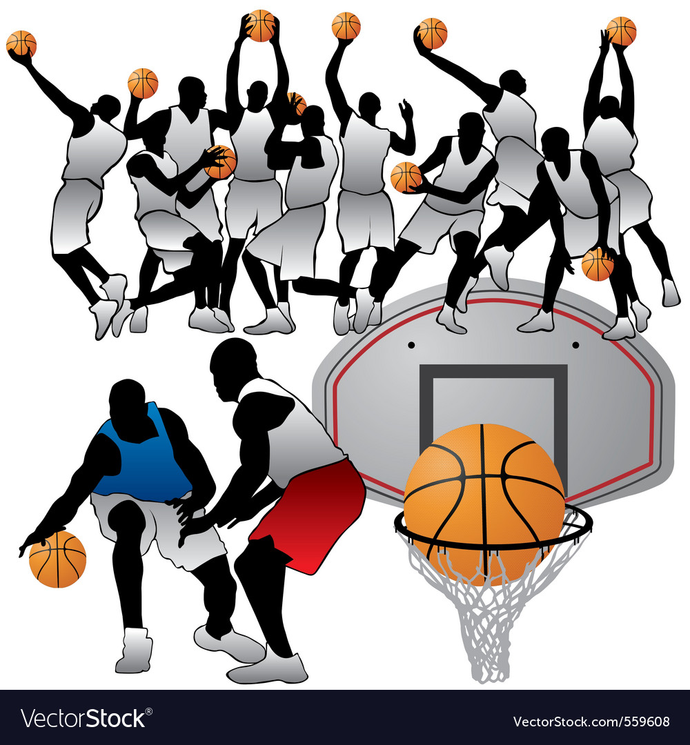 Basketball players silhouettes set
