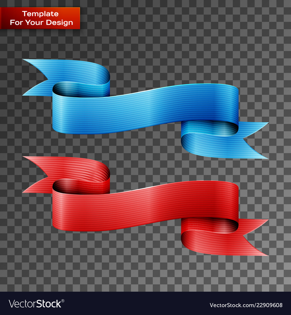 Blue and red ribbons on transparent background