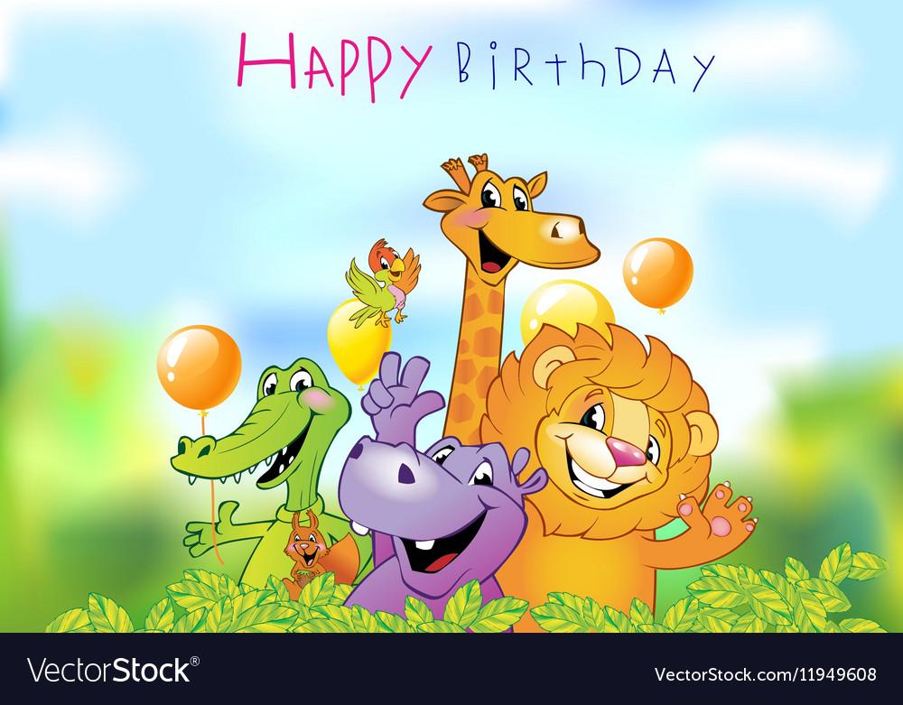 Cartoon animals Birthday greeting card