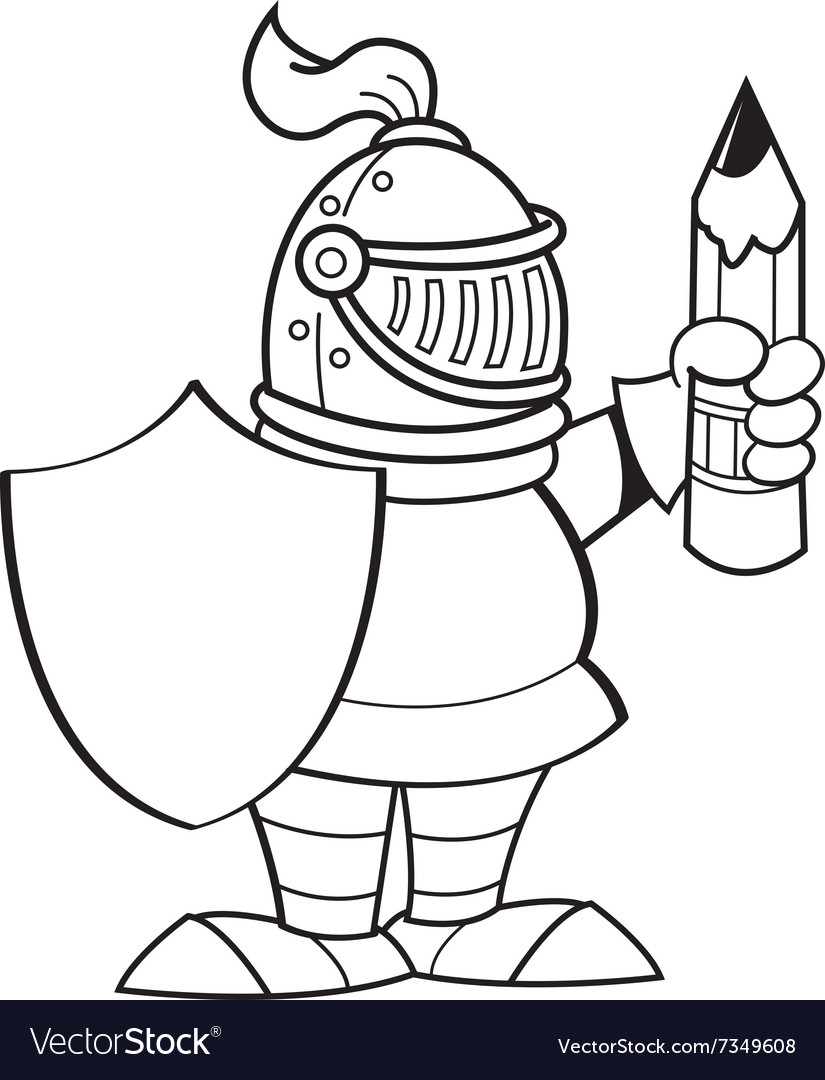 Cartoon knight holding a shield and a pencil