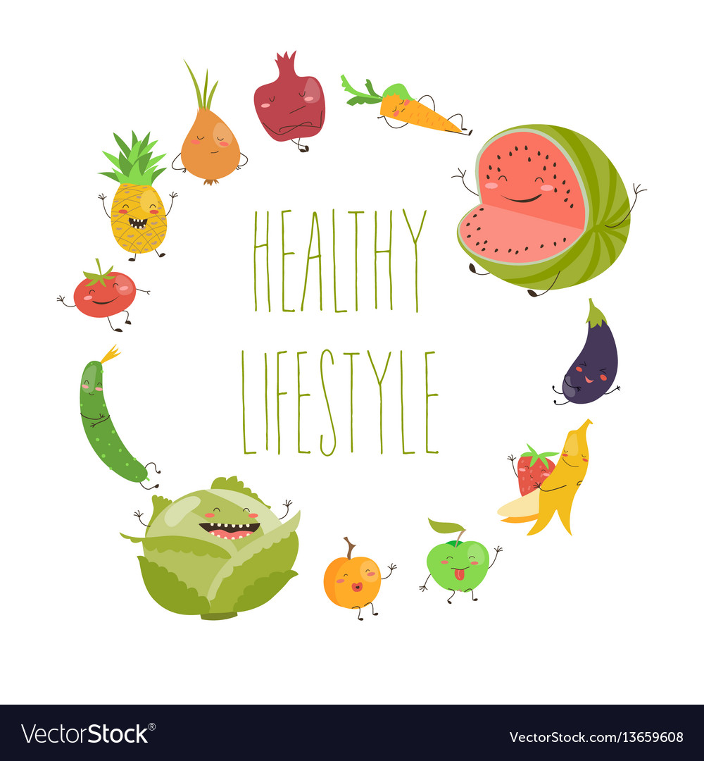 Cartoon vegetable cute characters face isolated on vector image
