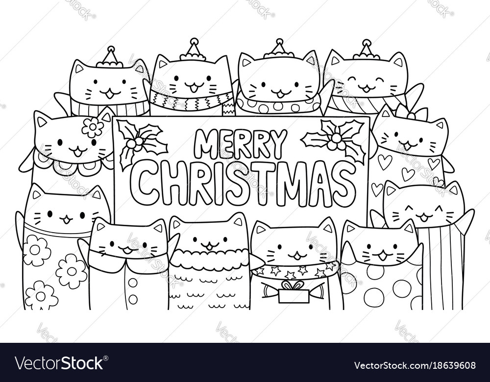 Cute cats and merry christmas