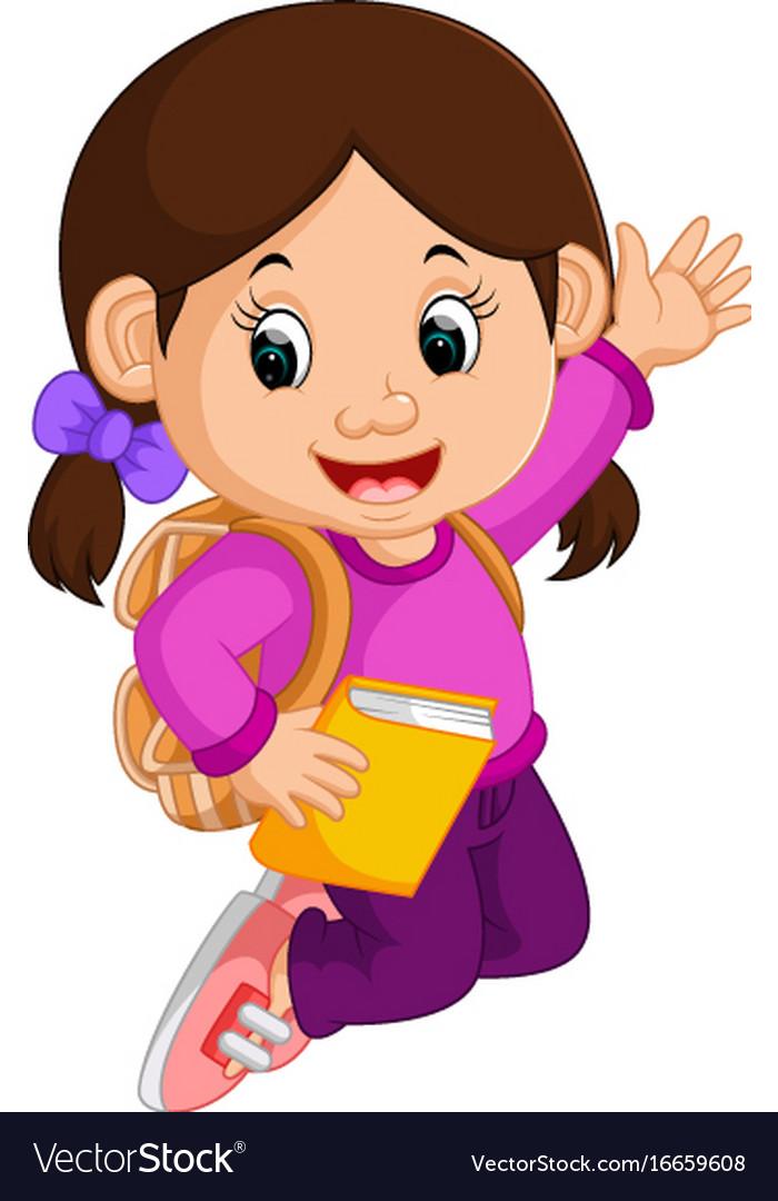 Cute Girl Go To School Cartoon Royalty Free Vector Image-4181