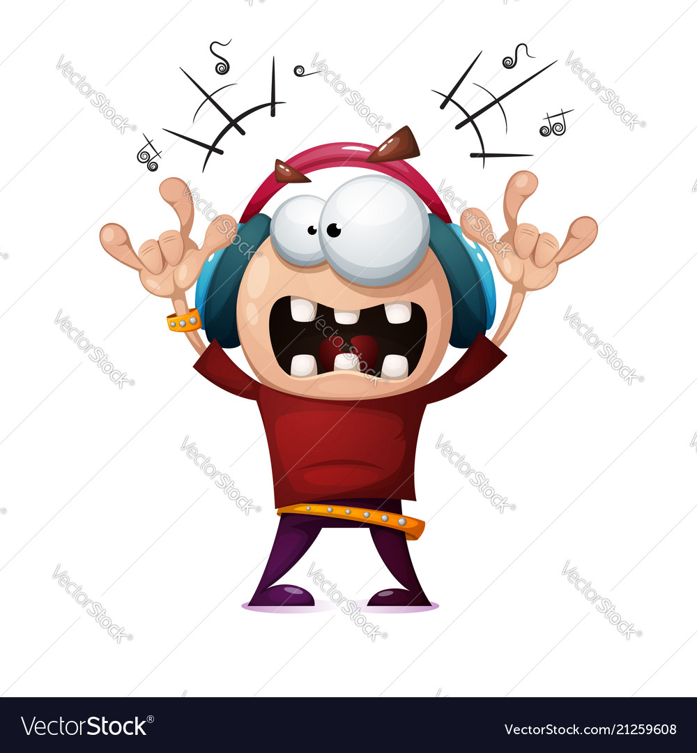 Funny cute crazy cartoon rock man rock music Vector Image