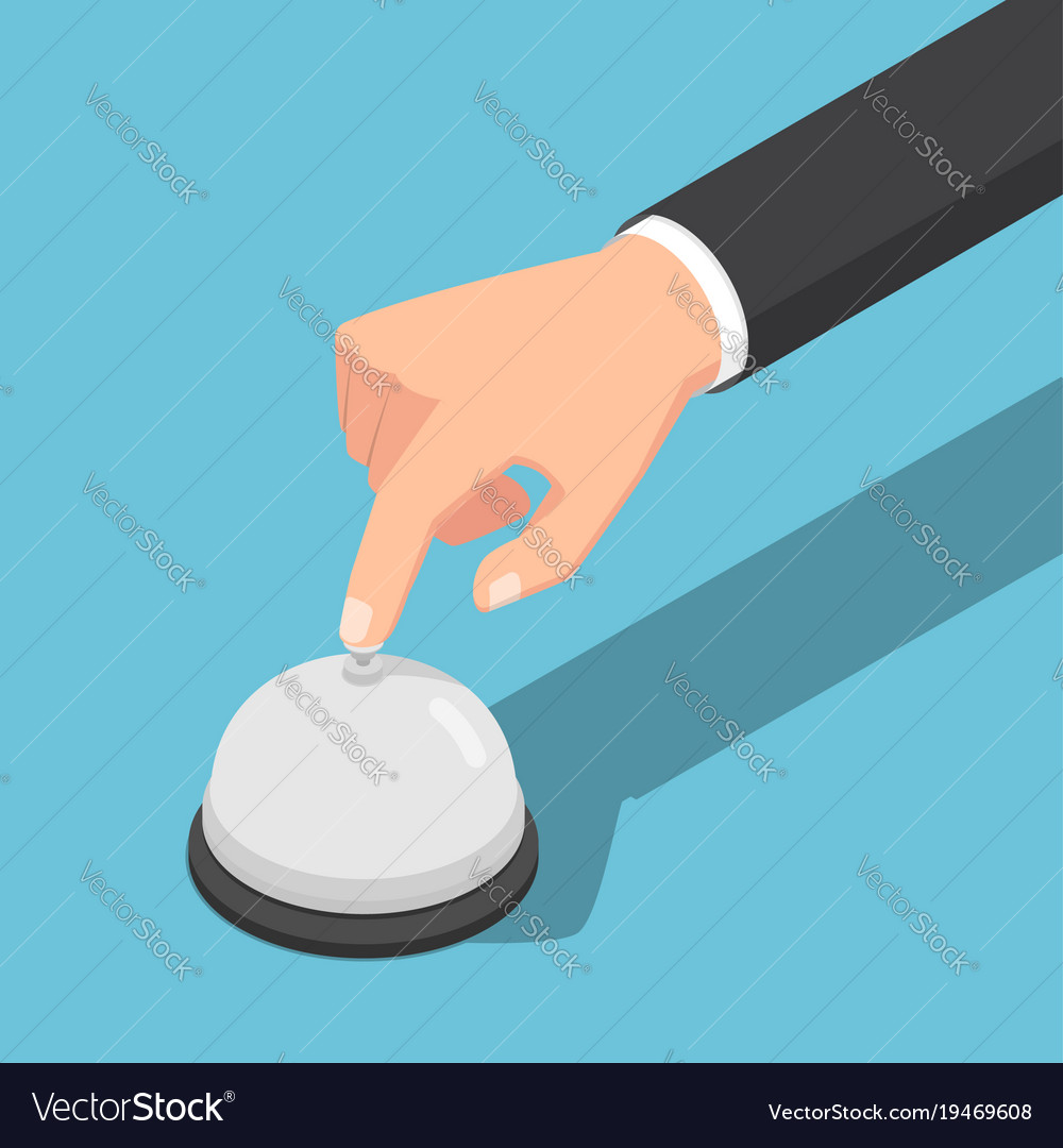Isometric businessman hand ringing service bell