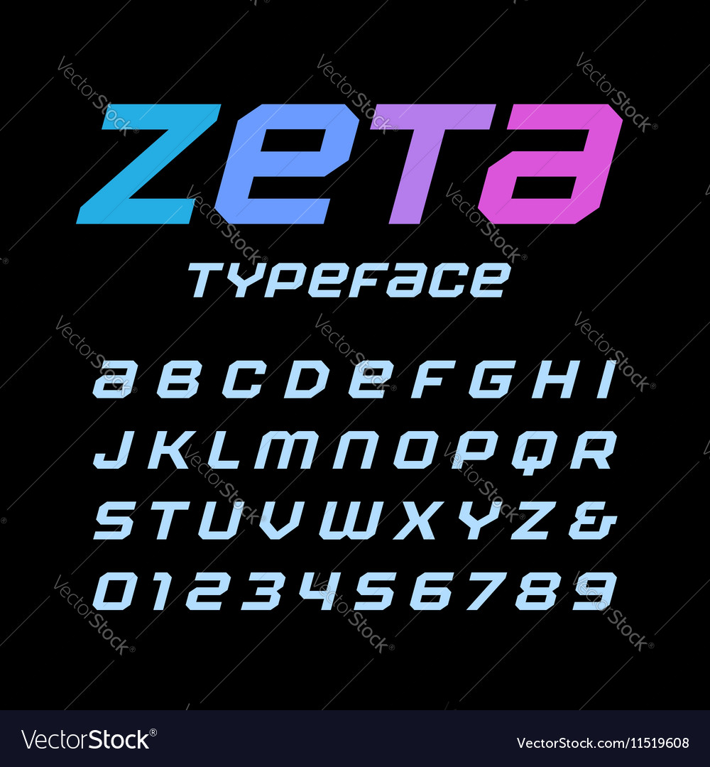 Italic square font alphabet with latin letters and