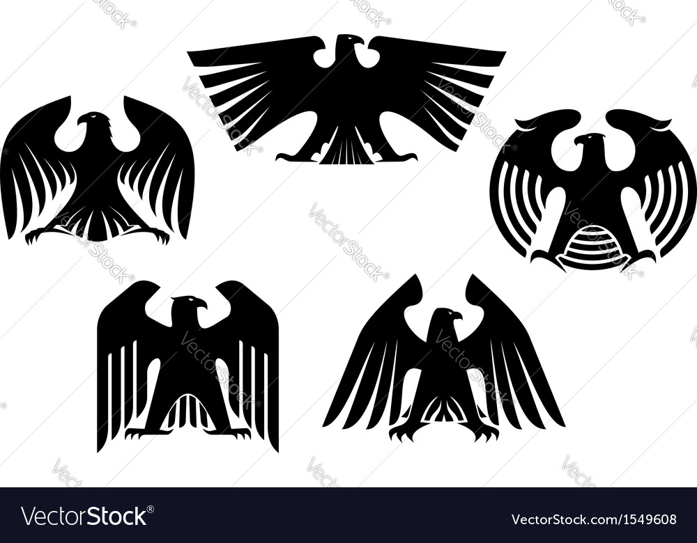 Majestic and powerful heraldic eagles vector image