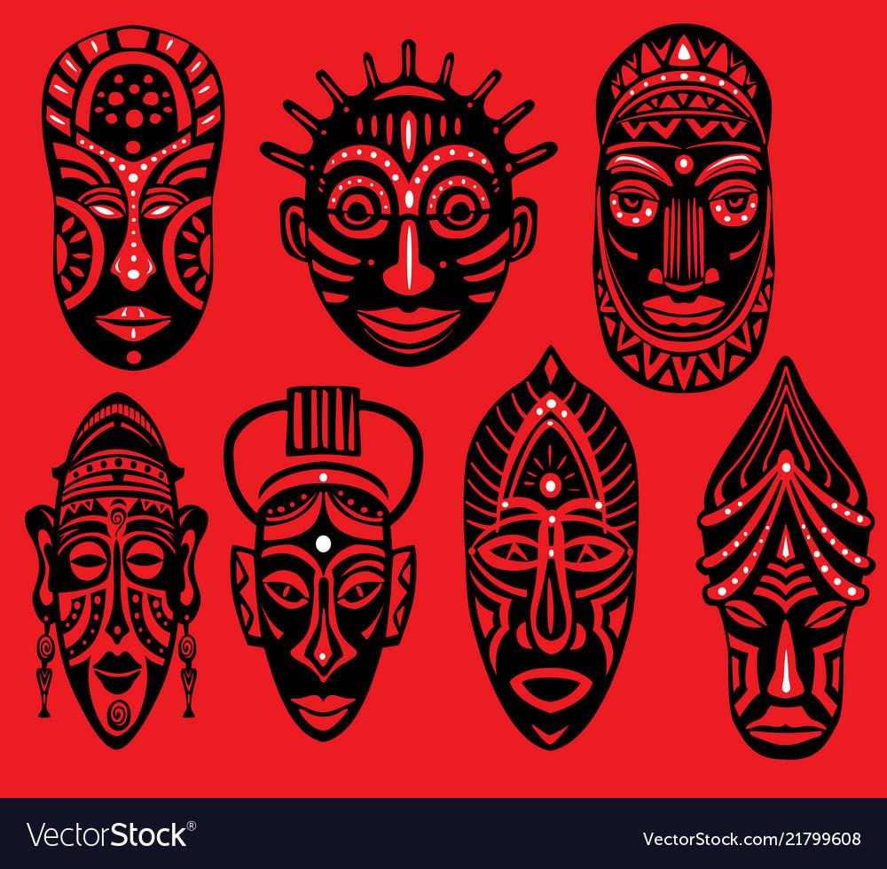 Set tribal african masks on red background