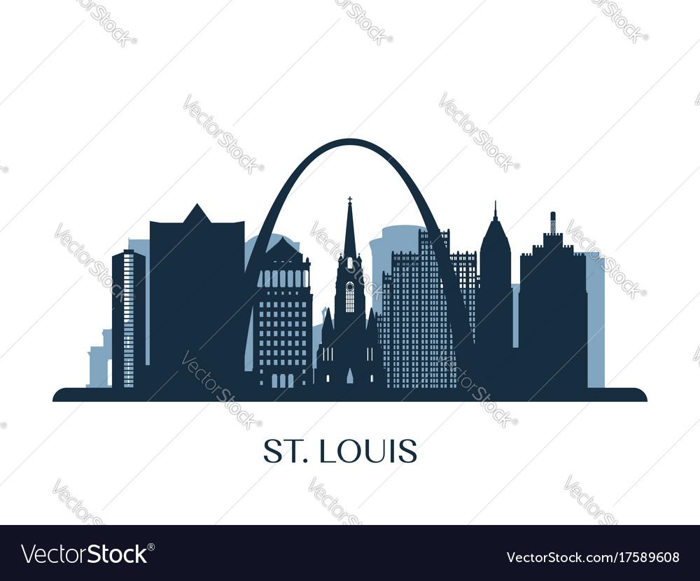 St louis skyline monochrome silhouette