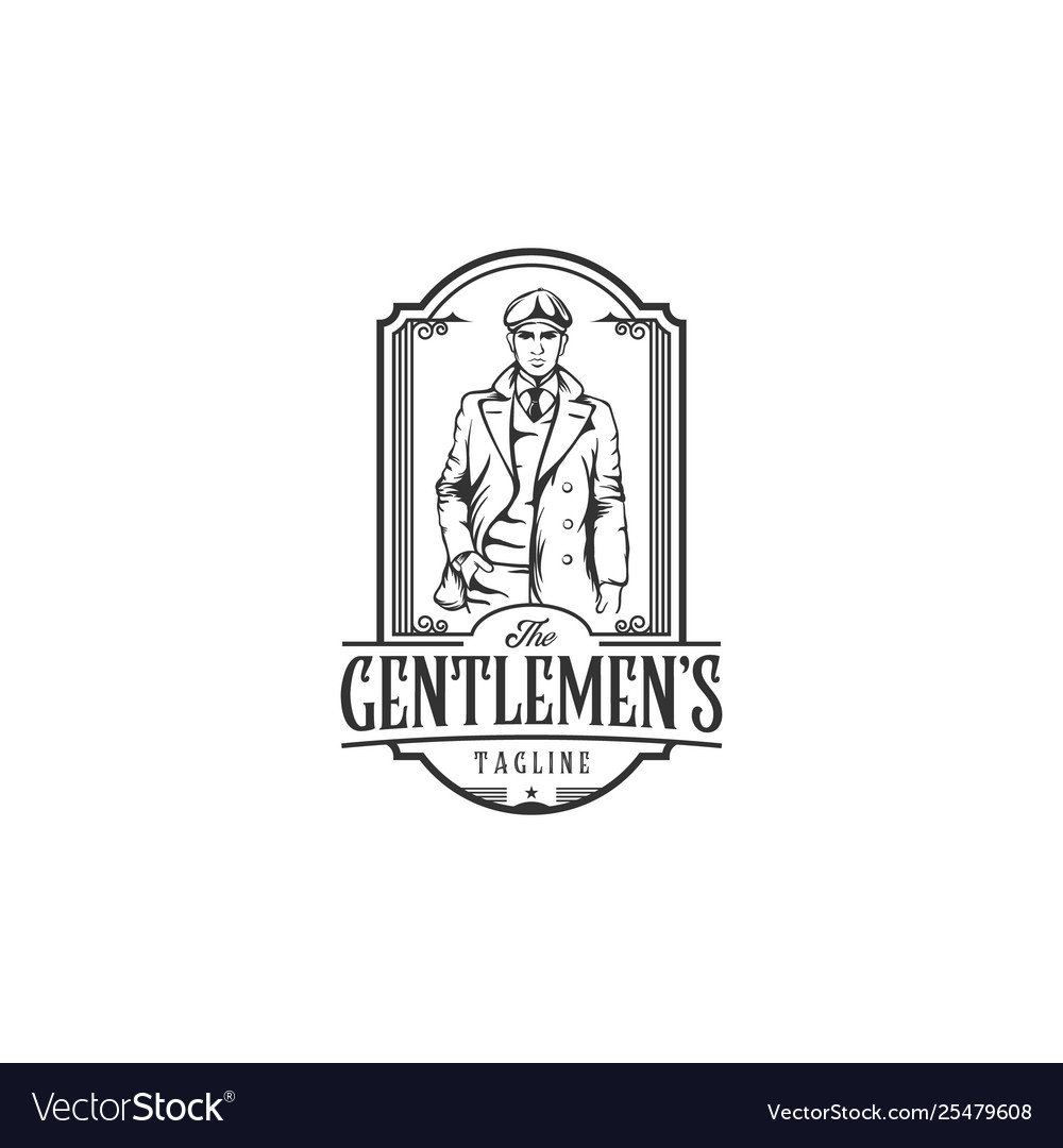 Vintage logo with bold man with a suit elegant