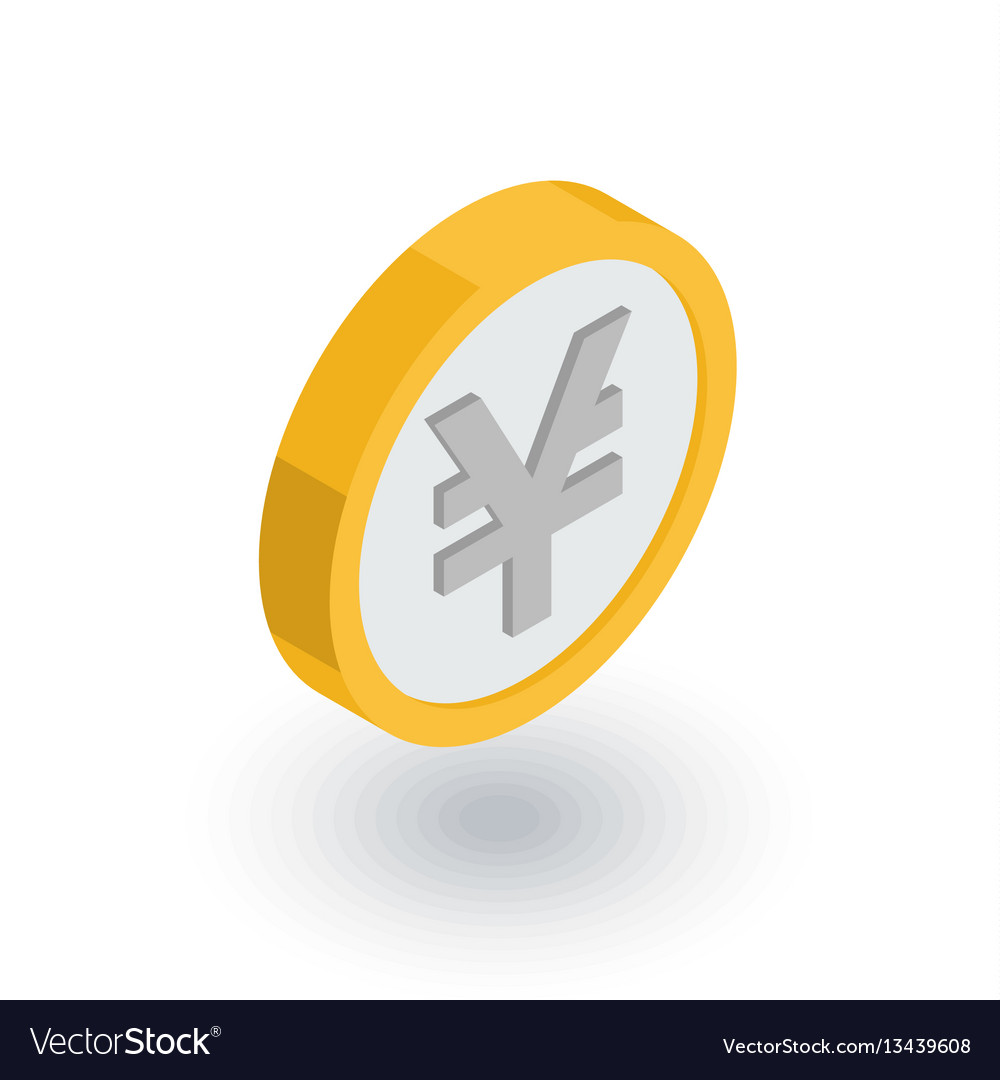 Yen coin money finance currency isometric flat vector image