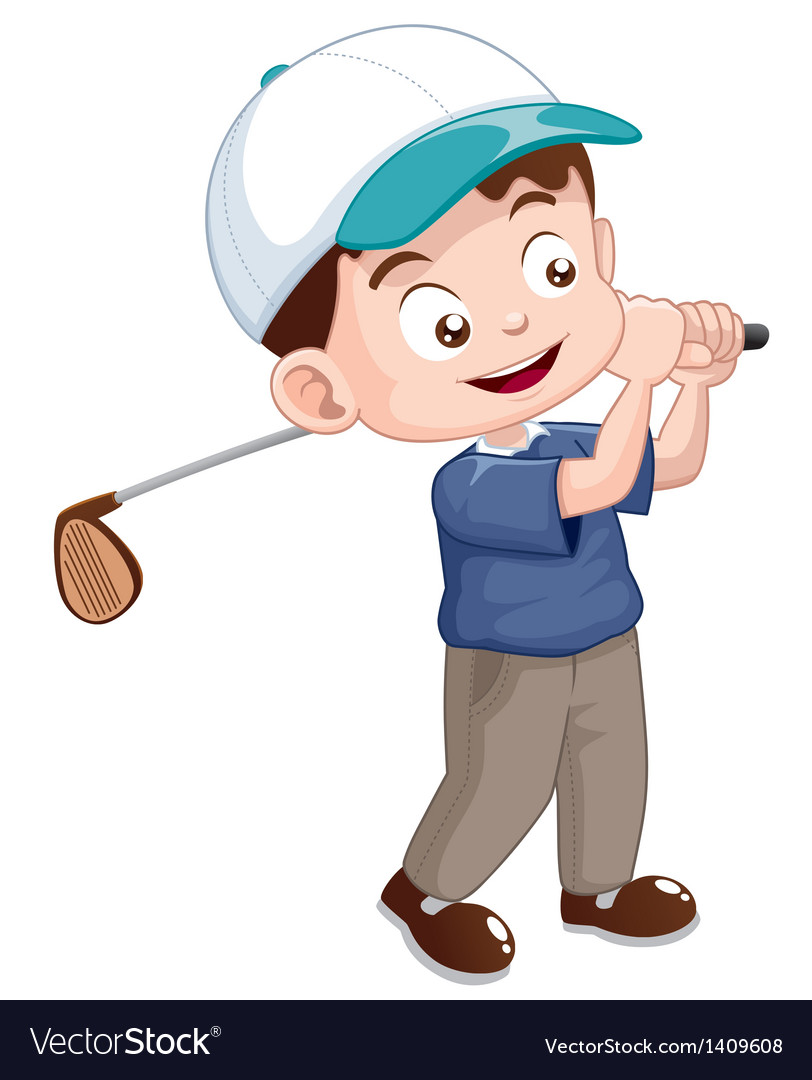 Young Golf Player Royalty Free Vector Image Vectorstock