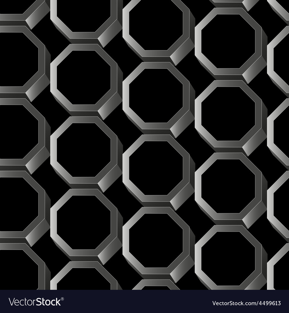 Abstract silver 3D hexagon seamless pattern