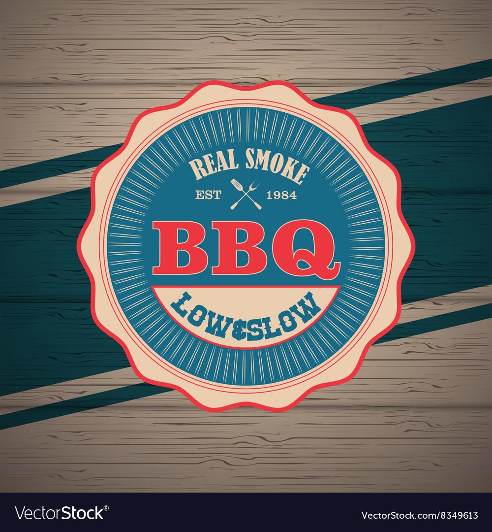 Barbecue BBQ grill logo stamp retro poster