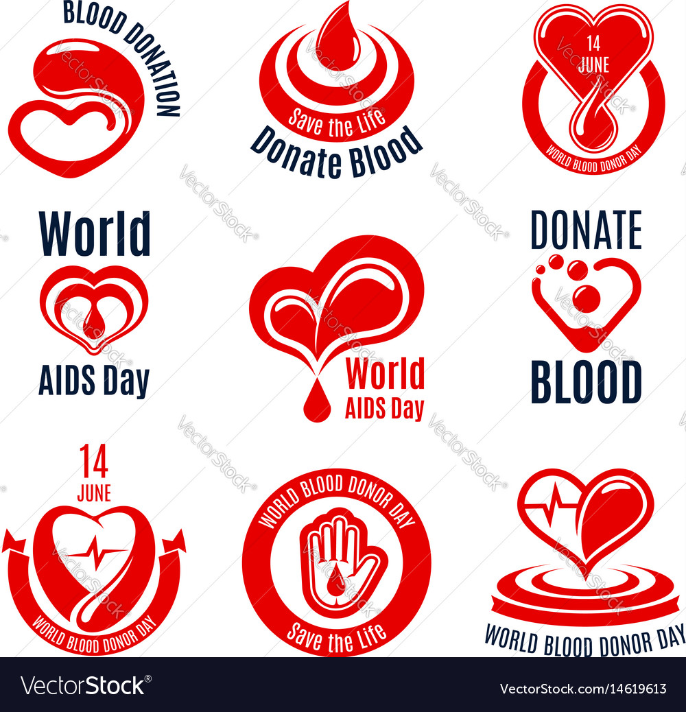 Blood donation icon with red heart drop and hand