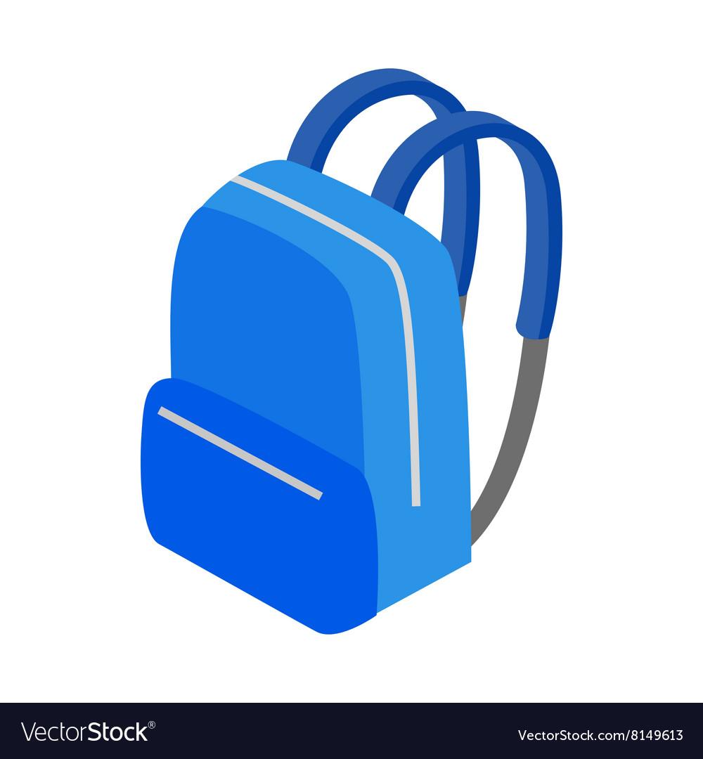 Blue school bag icon isometric 3d style