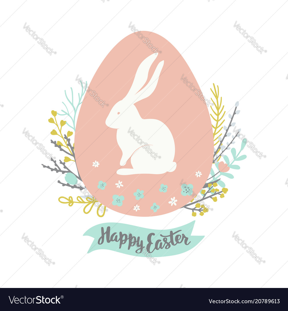 Easter greeting card with egg floral wreath