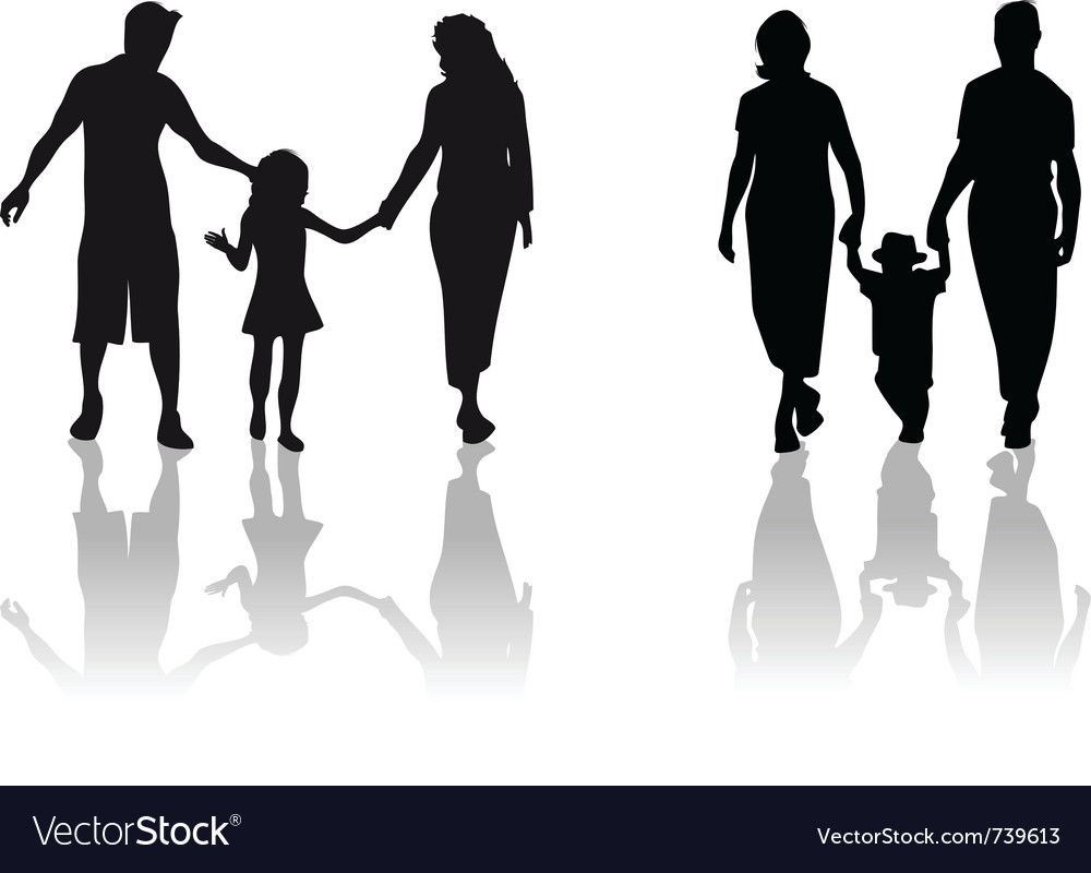 family child silhouette royalty free vector image rh vectorstock com child sitting silhouette vector child playing silhouette vector