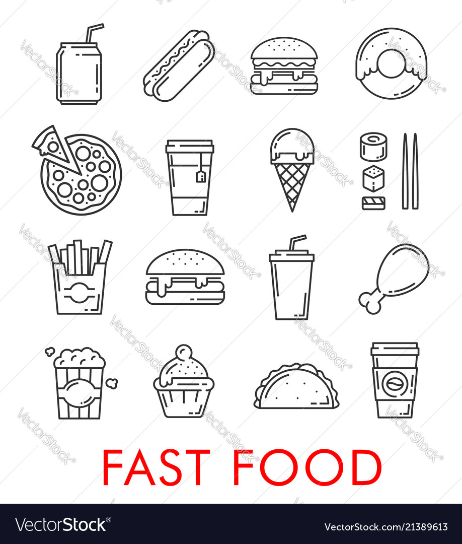 Fast food restaurant thin line icons