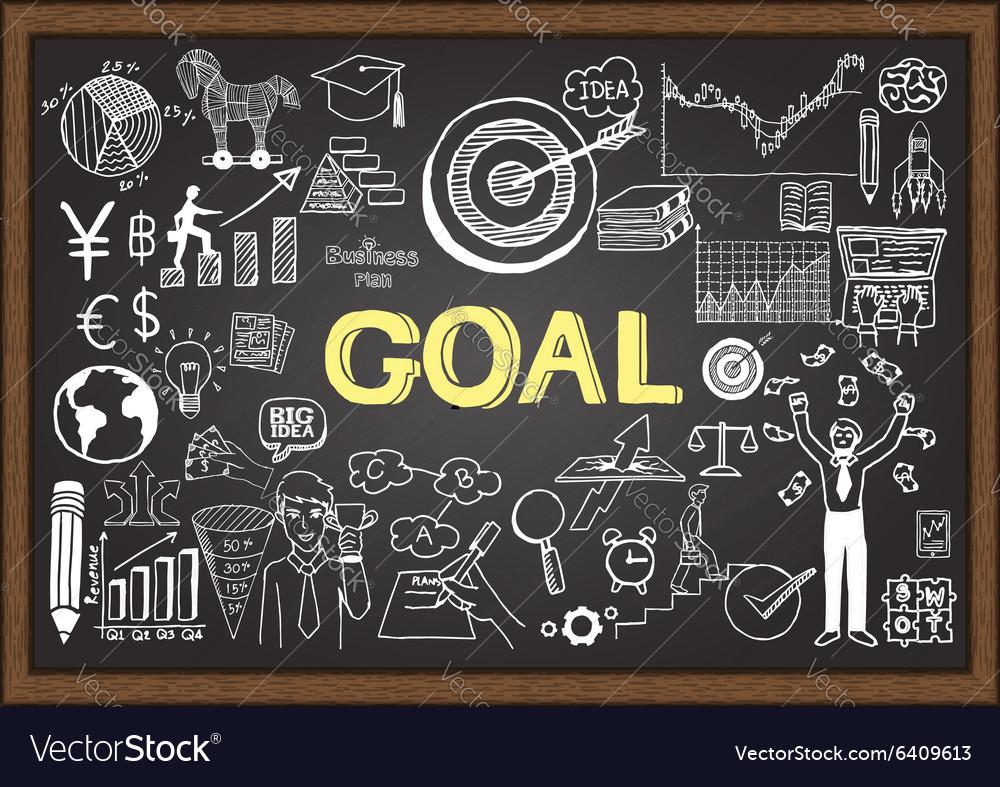 Hand drawn goal on chalkboard