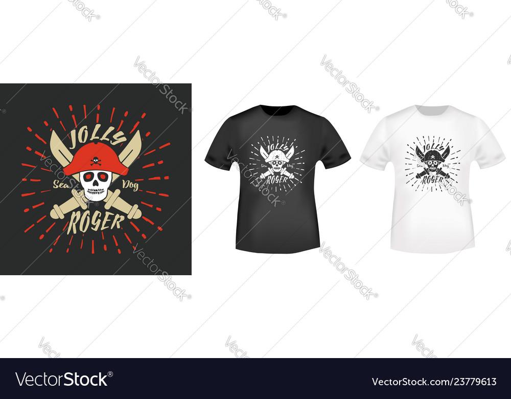 Jolly roger pirates t shirt print stamp