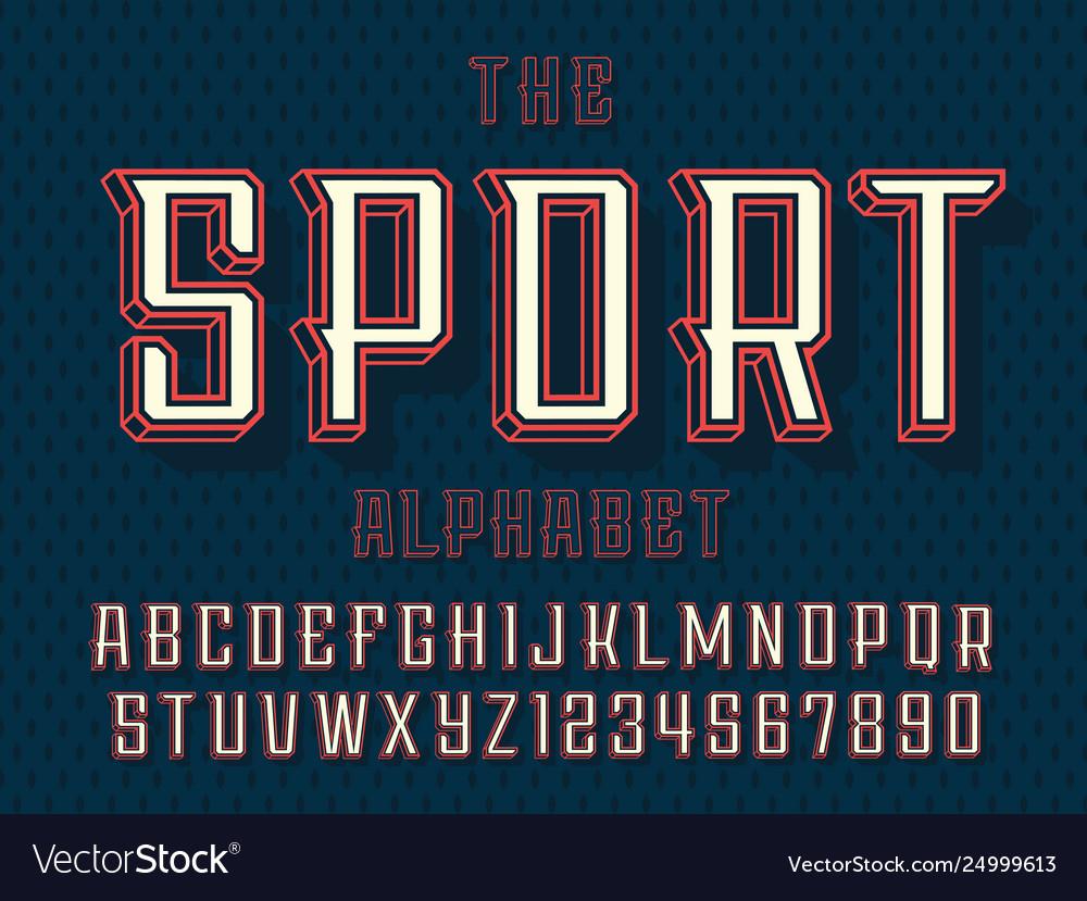 Modern professional 3d alphabet sport