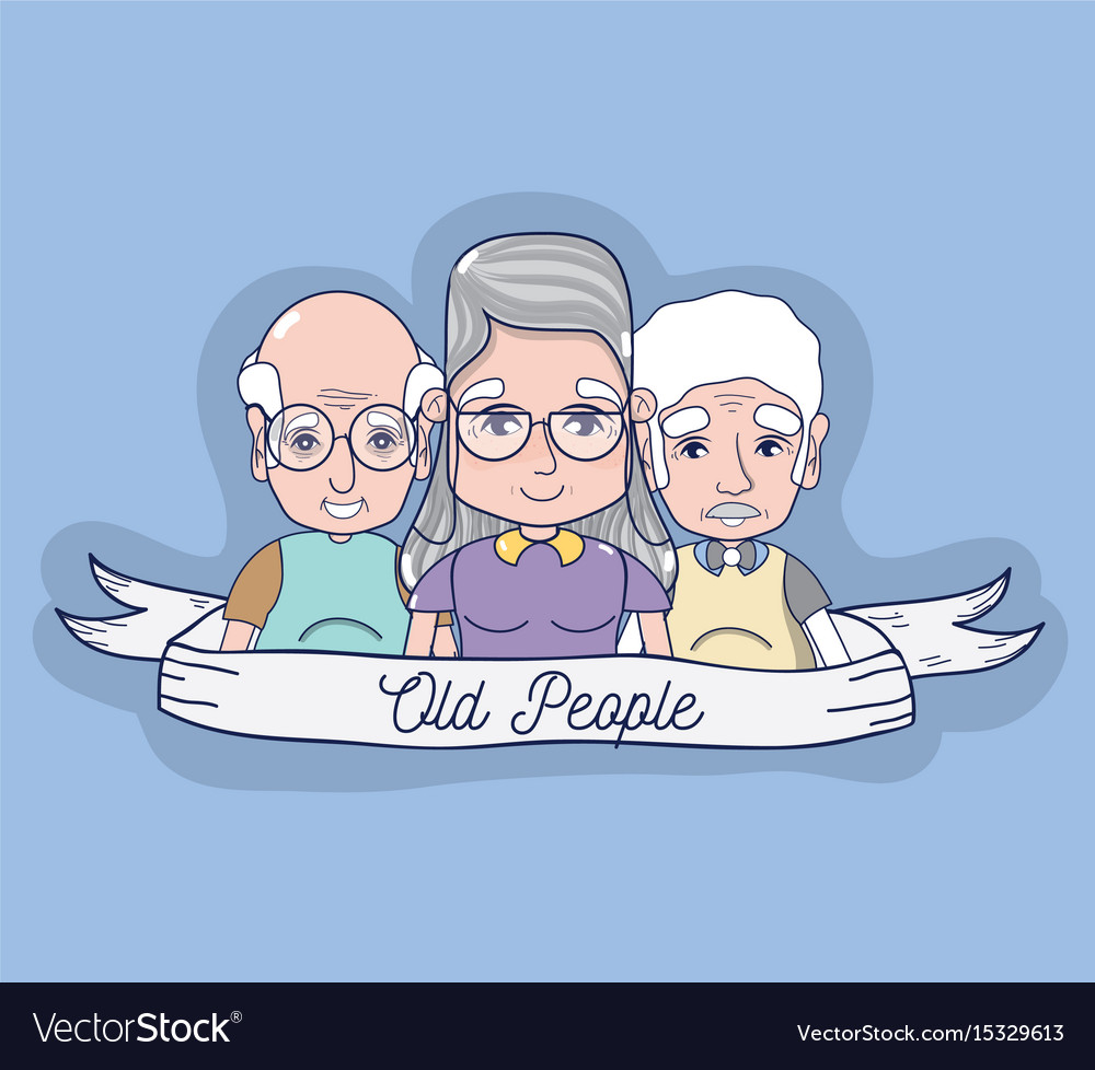 Old people together with ribbon icons vector image